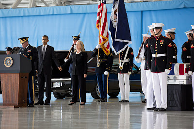 Ttransfer of remains of victims of Benghazi attack at ceremony at Joint Base Andrews