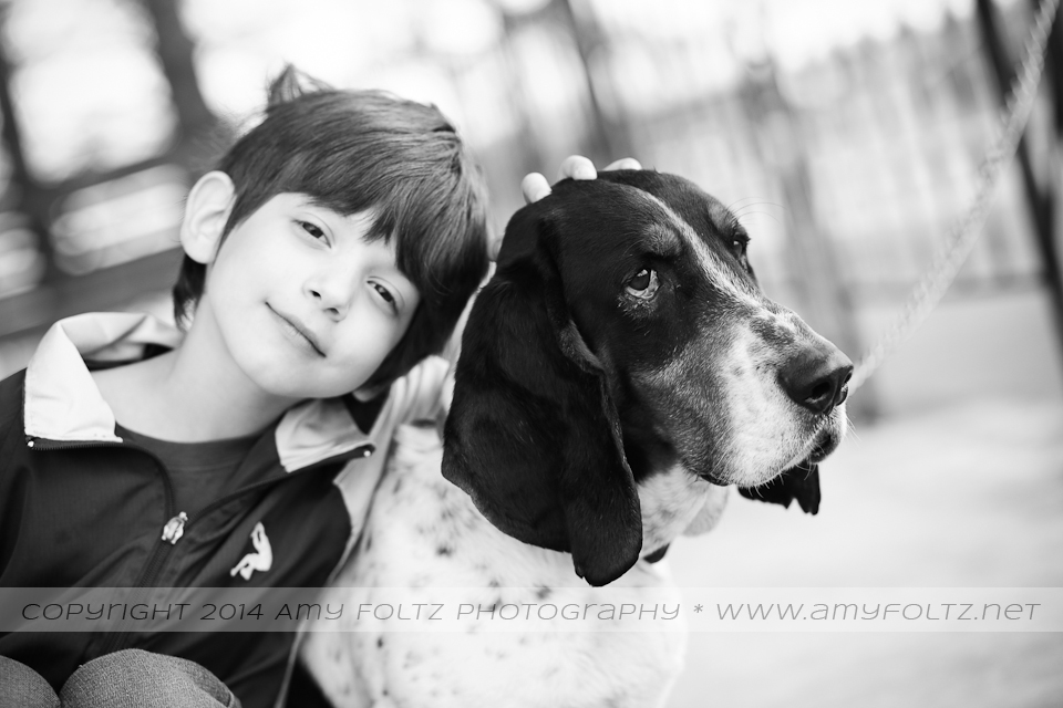 black and white photo of a boy and a basset hound - Terre Haute Photographer
