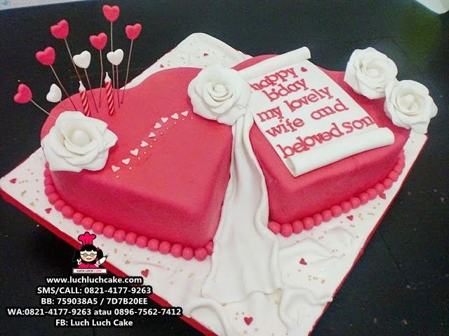 Kue Tart Love Hati Merah Romantis Daerah Surabaya - Sidoarjo
