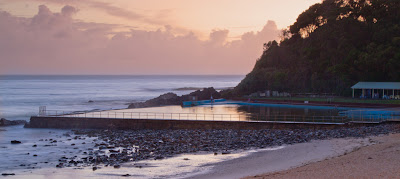 A Photograph of the Ocean Baths in Forster, Australia
