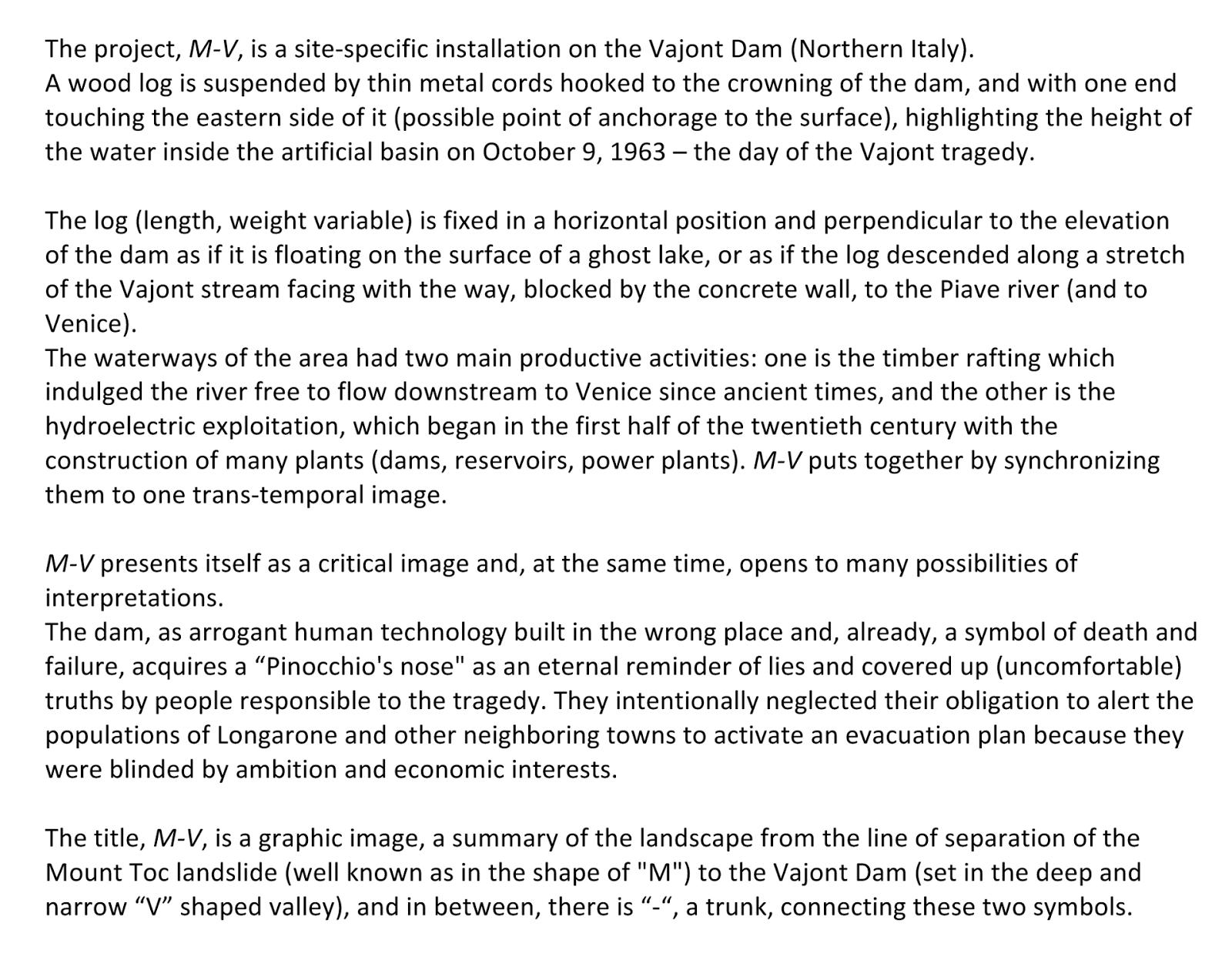 unrealized project for vajont dam 2014