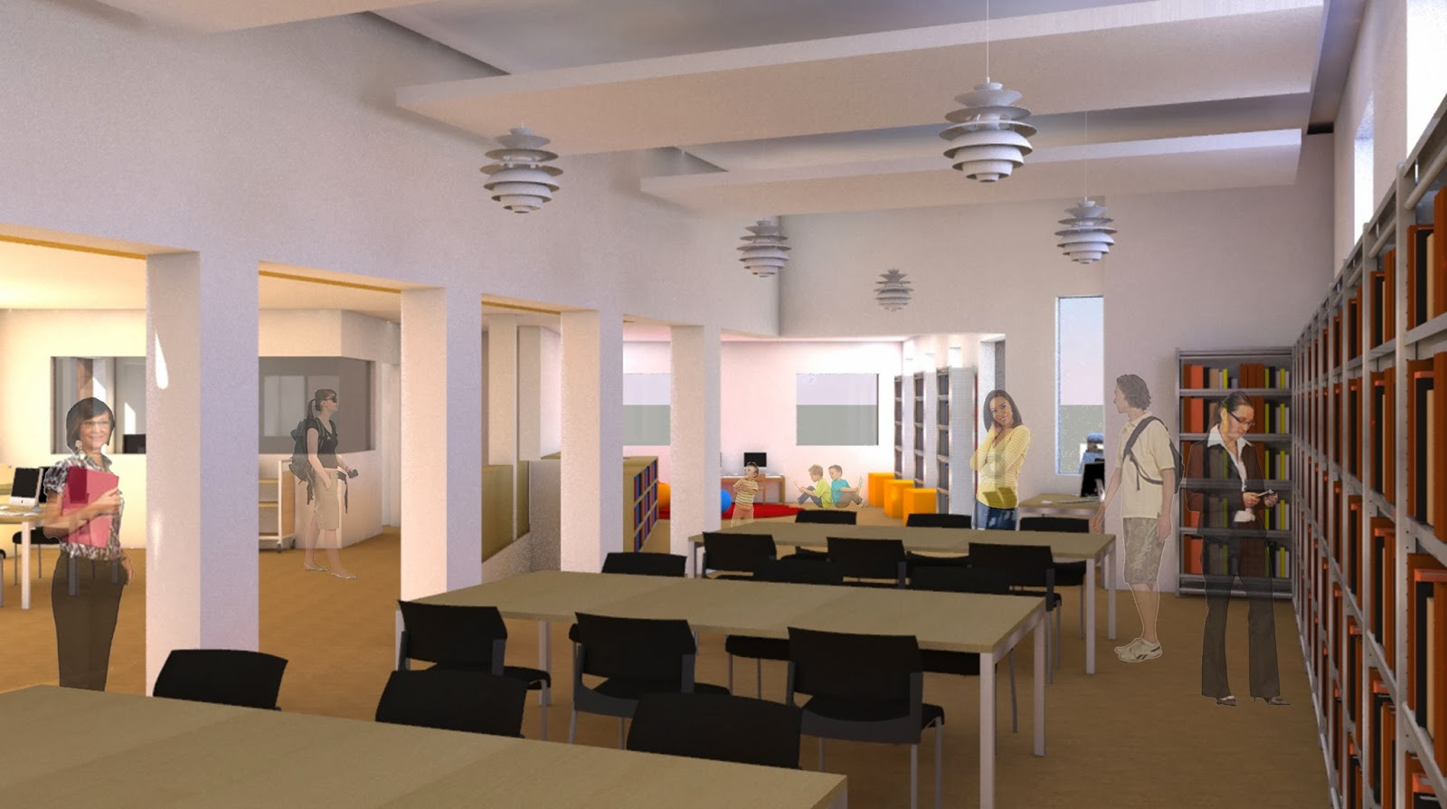 rendering of the remodeled library