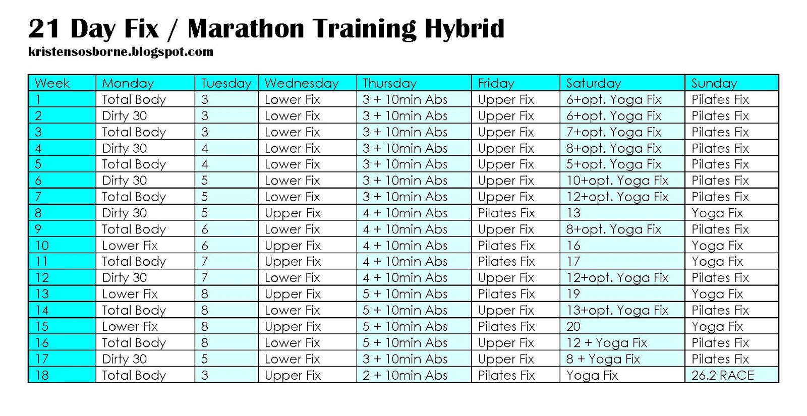 Fit Fierce Fight: 21 Day Fix Marathon Hybrid Training Schedule