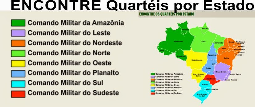 Endereço dos Quartéis de todo o Brasil por Estados