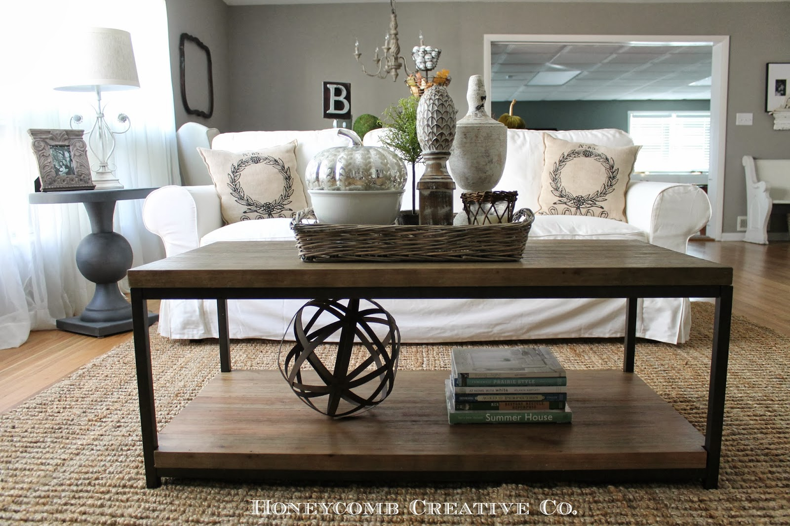 Coffee table styling modern rustic style pinterest for Living room table decorating ideas