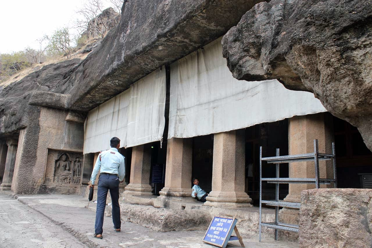 Cave 17 entrance, screens to protect the verandah paintings