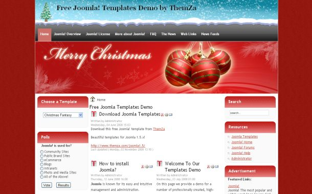 Grunge Christmas Red Blue Free Joomla Theme