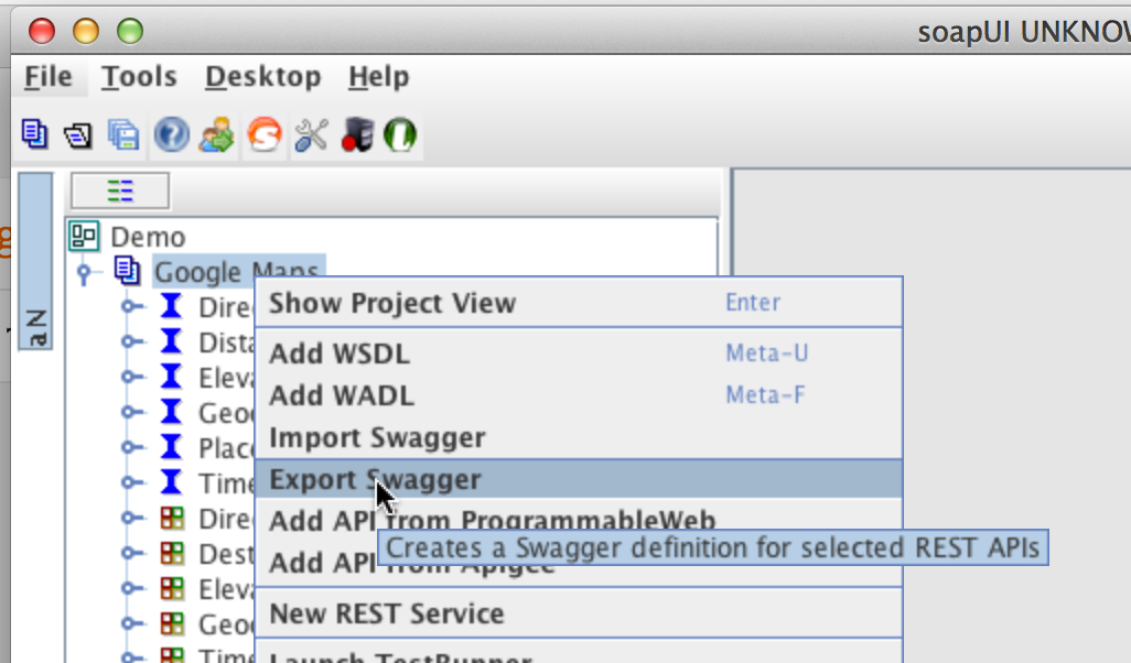 Ole lensmars blog api defined in your soapui project and right click the project node in the soapui navigator the popup menu now has an export swagger menu option malvernweather Choice Image