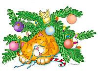 Desenho de gatinho dormindo, após derrubar árvore de Natal