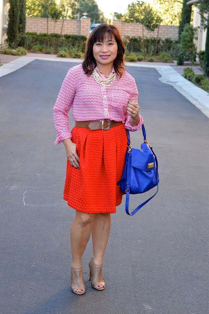 Ann Taylor Red Hearts Blouse, H & M  circle skirt, Marc by Marc Jacobs Flap Hobo