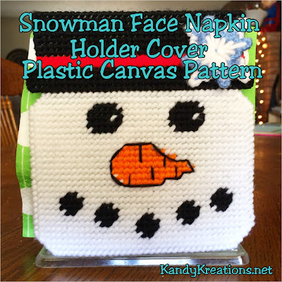 Decorate your kitchen or dinning room for January with a Snowman's smile to cover your napkin holder.  This quick and easy plastic canvas pattern fits right over a cheap Dollar store napkin holder and brightens the whole place during the dreary month of January.