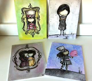 collage gothic girls creepy no face circus painting watercolor