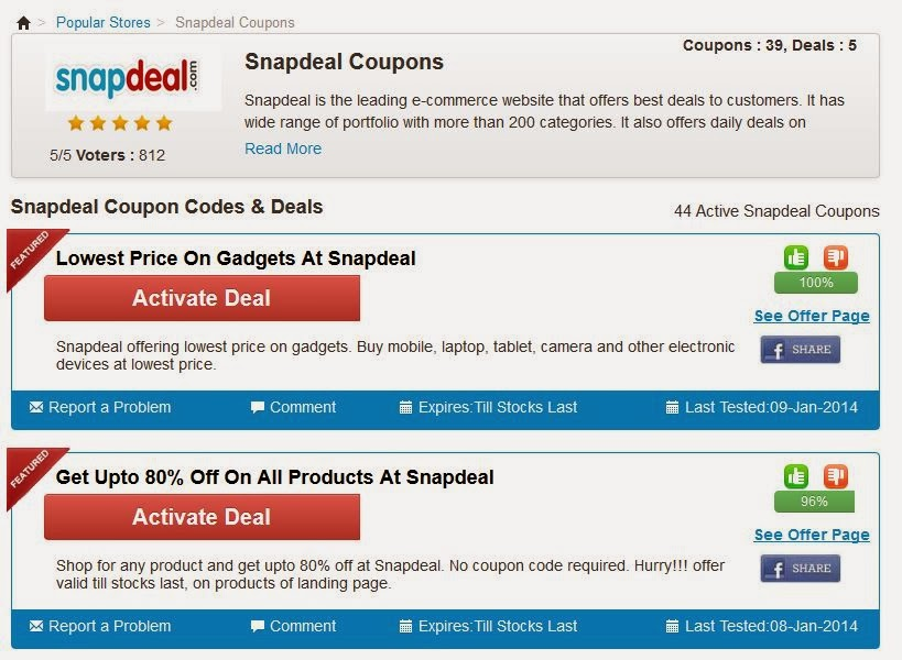 Snapdeal shopping discount coupons