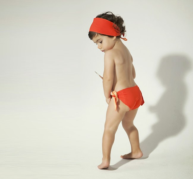 Orange bikini by Little Creative Factory for spring 2014 kidswear collection