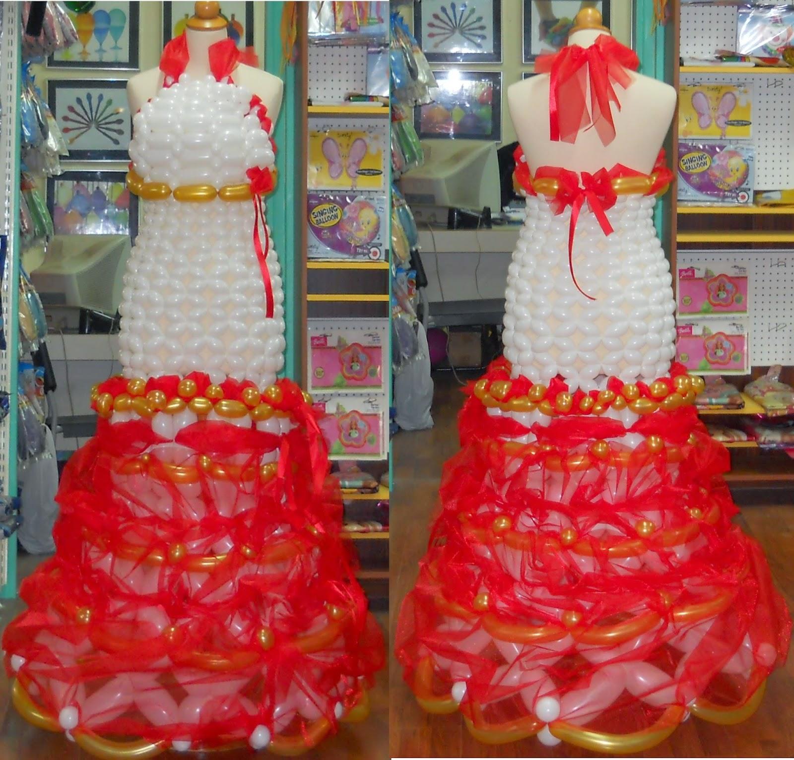 φορεμα νυφικο απο μπαλονια, μπαλονια κατασκευων,modeling balloons