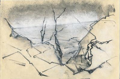 Stefan Friedemann: Baumskelette an der Steilküste, Zeichnung, 2011