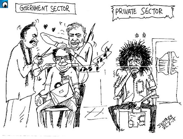 When would those in the private sector have hair cuts (Weekend cartoon)