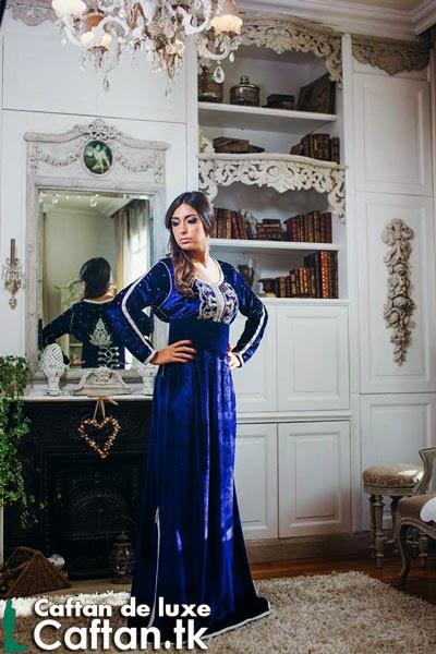 Caftan haute couture bleu marine 2014