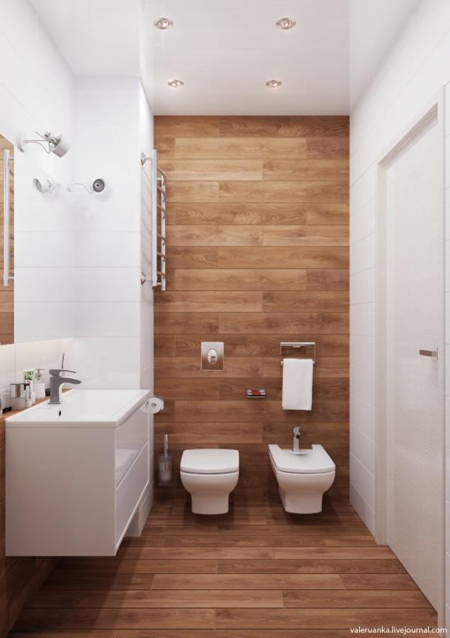 20 banheiros decorados com revestimento que imita madeira decor alternativa - Piso vinilico para bano ...