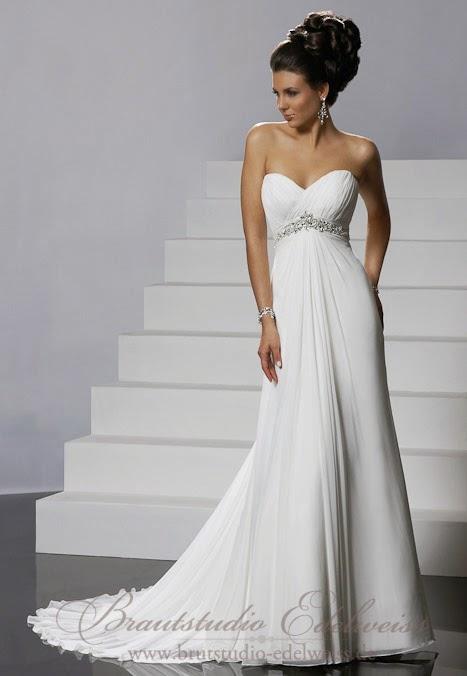 Griechische Göttin Hochzeitskleid, Chiffon. Leichtes schlichtes Brautkleid.