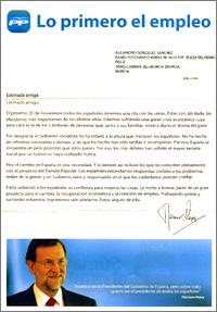 carta de propaganda electoral enviada por el PP y escrita por Mariano Rajoy