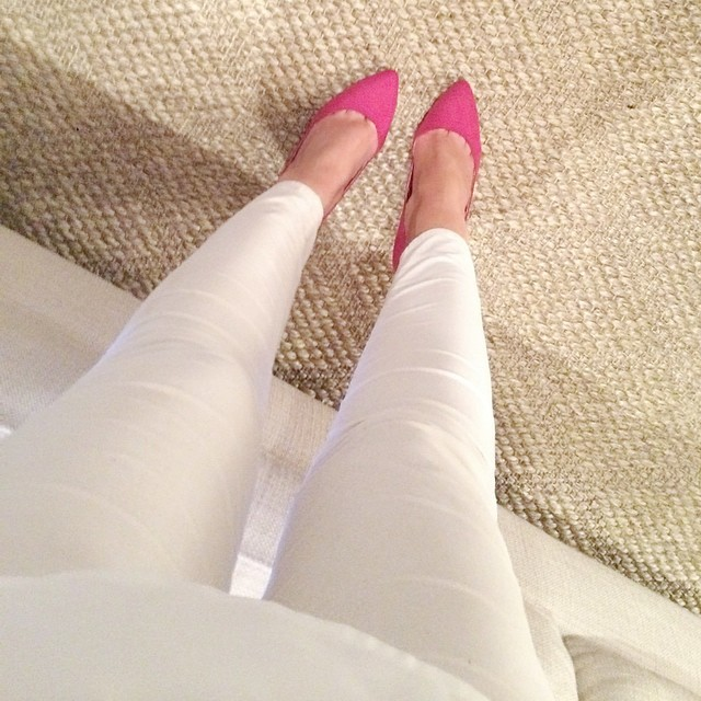 pink heels white jeans