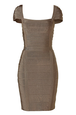 Dark Olive Cap Sleeve Mini Bandage Dress