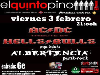 Cartel actuación Albertencia viernes 3 de febrero de 2012 en sala El Quinto Pino, Hortaleza. Madrid