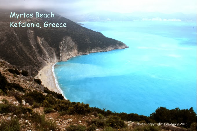 Myrtos Beach on the island Kefalonia in the Ionian Islands of Greece. Copyright Liz Alvey 2013