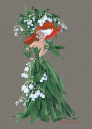 Nounou mariposa et ses chenilles carte muguet pour le 1er - Image muguet 1er mai gratuit ...