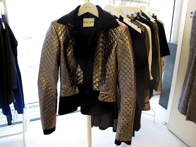 metallic quilted leather jacket from Reiss
