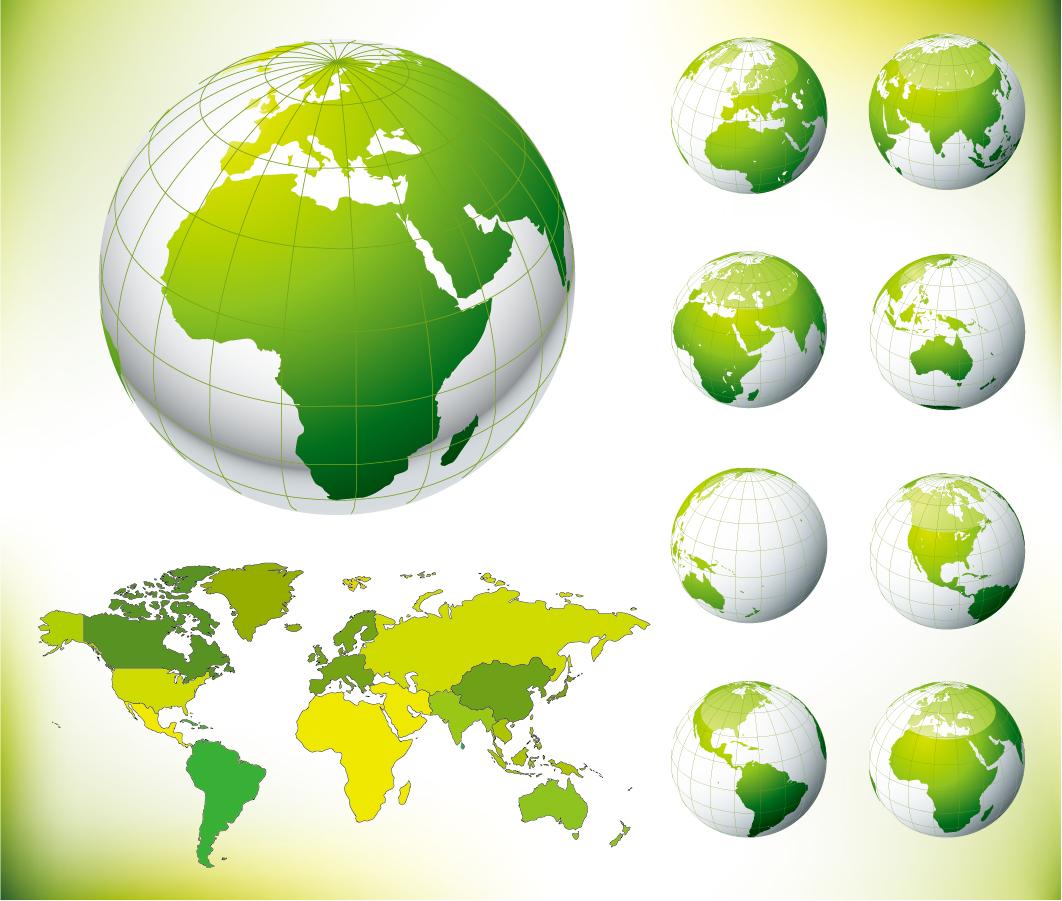 緑の地球と世界地図 green earth and the world map イラスト素材