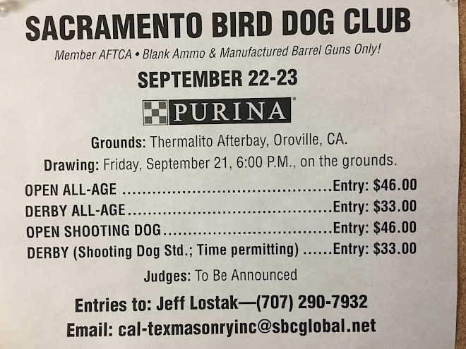 Advertisement: Sacramento Bird Dog Club Fall Trial