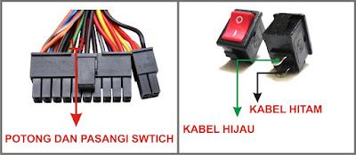 Gambar cara merangkai power ON/OFF (adaptor 9v)
