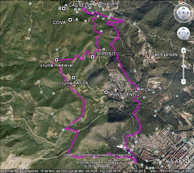 Mapa de la ruta para hacer trekking por garraf