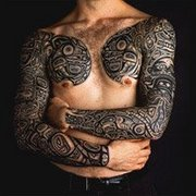 Men Arm Sleeves and Chest Tattoo Design