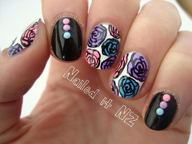 pink purple & blue rose nail art