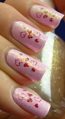 Valentine's mani - OPI Mod About You, Manicurist Of Seville, Essie Shine Of The Times