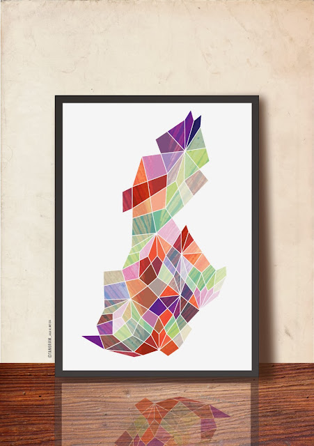 Abstract Precious Stone Geometric Print by TANGRAMartworks