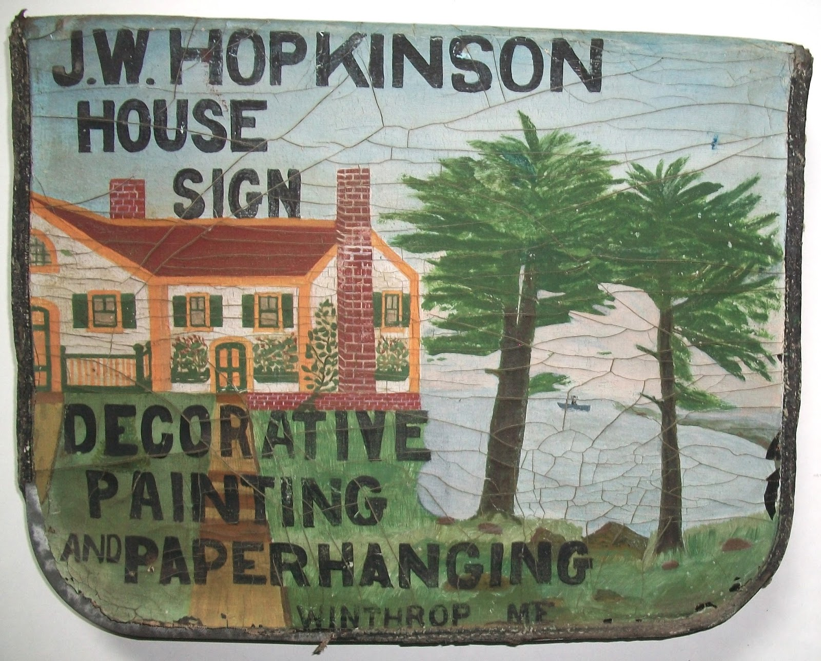 Pair Of Matching Antique Folk Art Painted Trade Signs Maine Circa 1920 Collection Jim Linderman