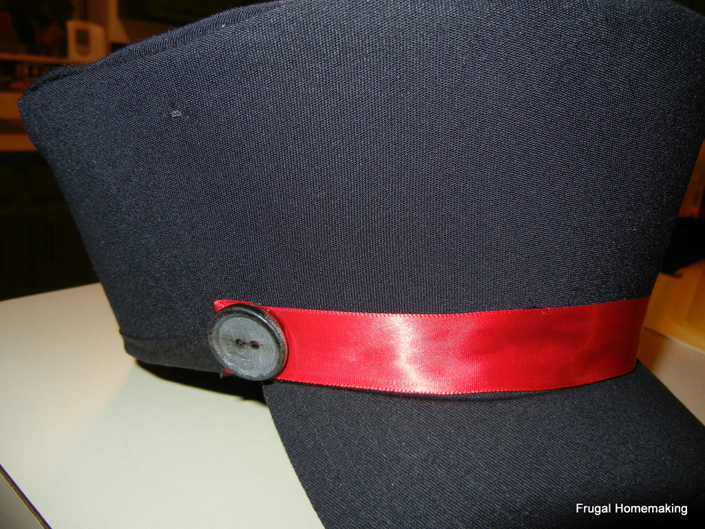 Frugal homemaking railroad conductors hat tutorial glue two buttons at each end of the ribbon pronofoot35fo Gallery