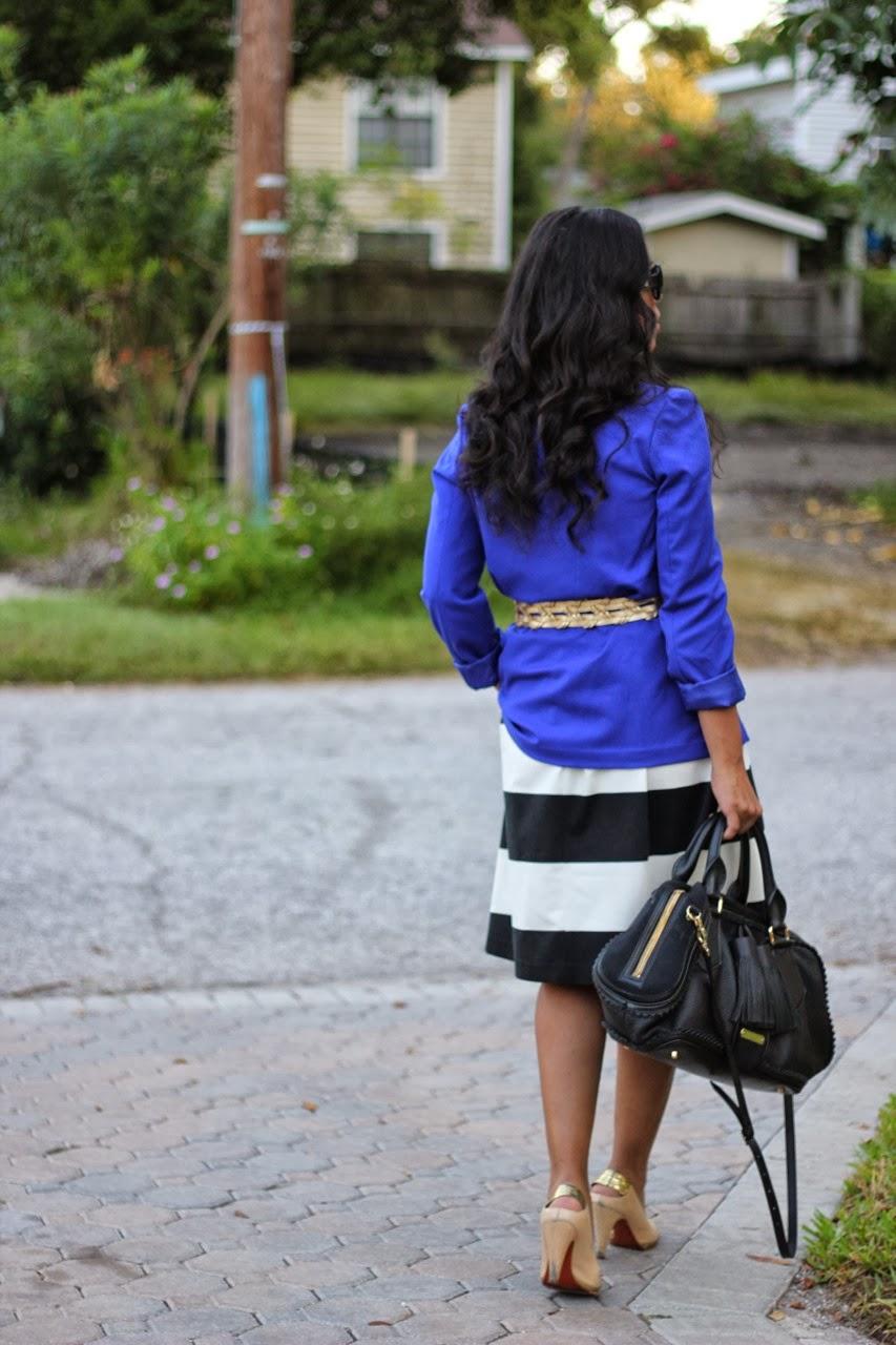 Burberry Marc Jacobs Designer fashion Cobalt Blazer Gold accessories handbag sunglasses shoes striped dress bold