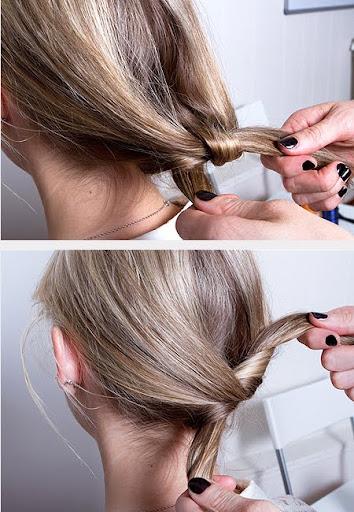 Двоен кок - завържете двата края на косата и пристегнете