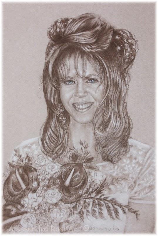 sepia portrait drawing, bridal portrait in pencil