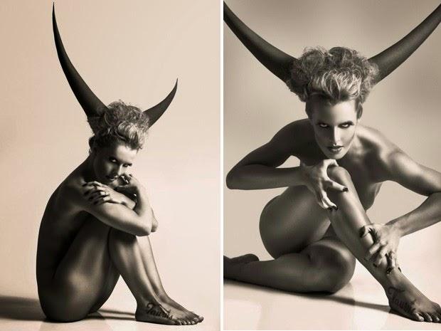 A gata comemora aniversário com ensaio nu. A inspiração para as fotos vieram de seu signo, touro...