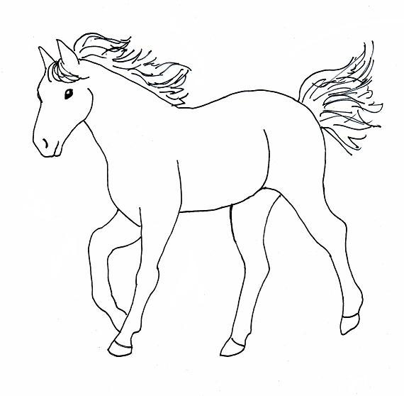 Simple Horse Lineart : Horse scenery drawing