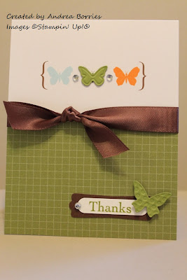 "Something Special Simply Sent card with die-cut and embossed butterflies, brown ribbon and the sentiment ""Thanks."""