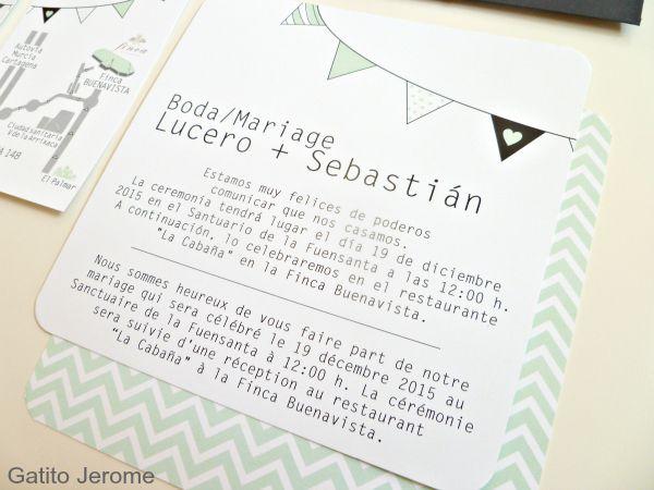 Texto en español y francés, diseño guirnalda, verde, negro y gris