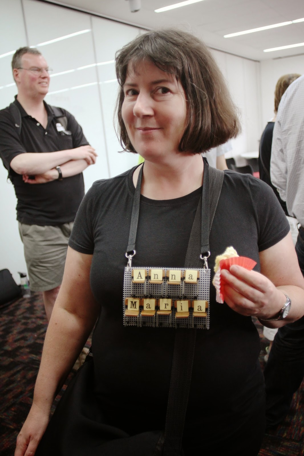 Me wearing my mini-chair name tag at Canberra Barcamp.