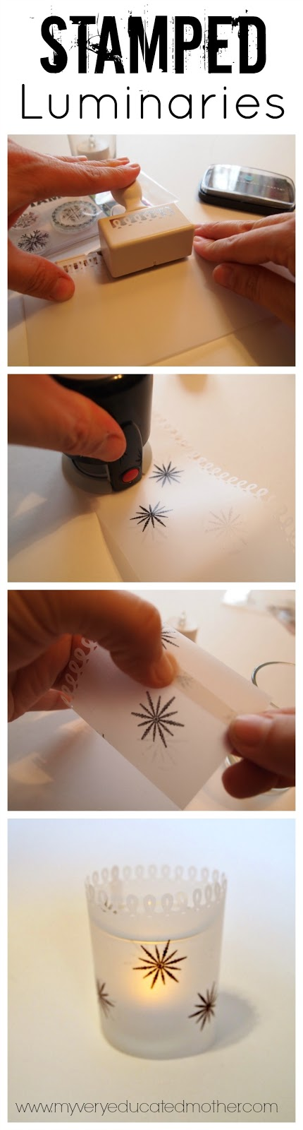 Give your plain candle holders a quick update with paper and stamps! This is a great craft to make with kids for any holiday or season you want!